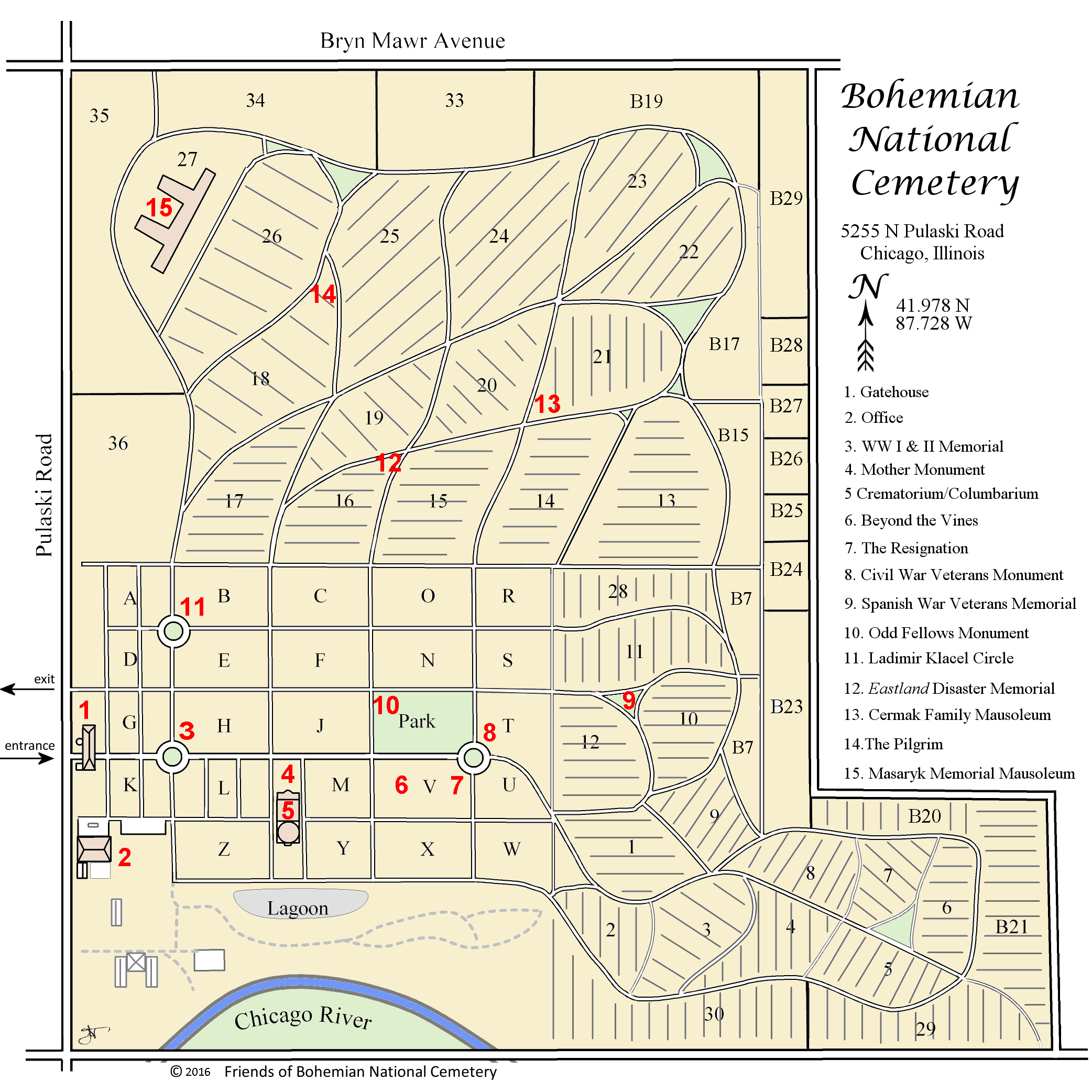 map of Bohemian Natonal Cemetery
